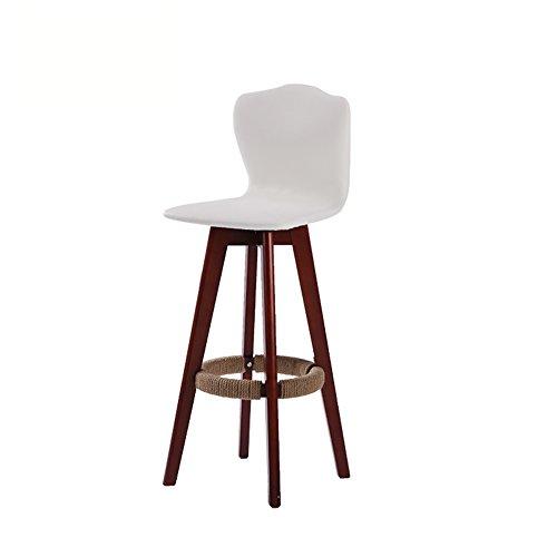 ZHDC® Barhocker, Bar Massivholzhocker High Hocker Rotate Cafe Counter High zurück Holz Creative Tall Front Desk Küchenstuhl European Höhe 71cm × Breite 48cm Starkes, starkes Wiegen ( Farbe : Weiß-2 )
