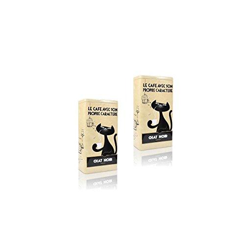 2 x Zwarte Kat Kaffeedose Chat Noir, beige Aufbewahrung der Kaffee Bohnen