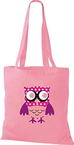 Stoffbeutel Retro Eule Farbe Owl Bunte rosa niedliche Tragetasche Jute diverse ShirtInStyle 6yHcqg5wy