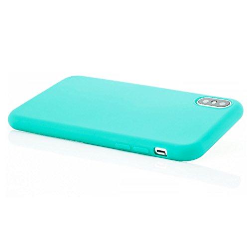 zanasta® iPhone X Hülle Case Silikon Soft Flex Schutzhülle Ultra-Slim Handyhülle Cover - Matt Türkis Türkis