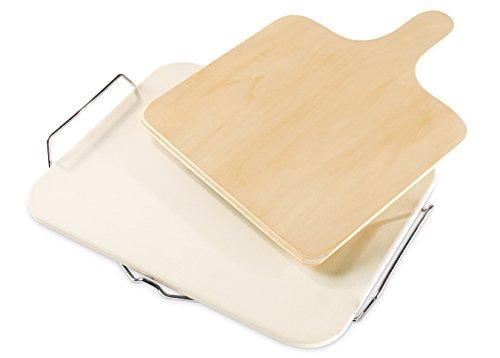 Dr. Oetker Backstein mit Holzschieber, Pizzastein aus Keramik mit Griffen aus Metall, praktische Pizzaschaufel aus Holz (Farbe: Creme), Menge: 1 Stück