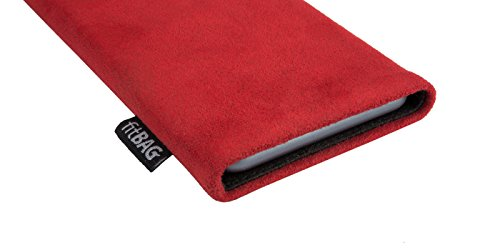 fitBAG Classic Grau Handytasche Tasche aus original Alcantara mit Microfaserinnenfutter für Apple iPhone 6 / 6S / 7 mit Apple Leather Case Classic Rot