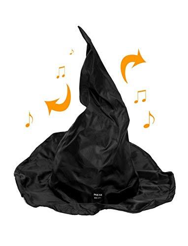loween Dekoration Deko einsam Tanzender Hexenhut mit Geräusch und Bewegung, 37x18cm, Witch Hat with Moving Tip and Sound, ideal für Jede Halloween Party / Feier, Schwarz ()