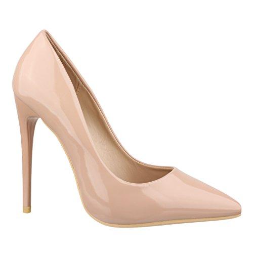 Elara Spitze Damen Pumps | Bequeme Lack Stilettos | Elegante High Heels B-1 Beige-40