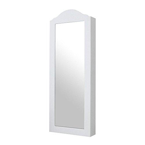Grand Todeco   Armoire à Bijoux Avec Miroir, Miroir De Rangement   Matériau: MDF    Dimensions Du Miroir: 823 X 274 X 3 Mm   96 X 36 X 9 Cm, Blanc, Support  Mural