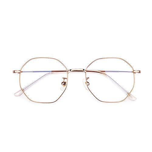HAIBUHA Brille Retro Ultraleicht Reines Titan Polygon Brillengestell Flacher Spiegel Unisex (Farbe : Roségold)
