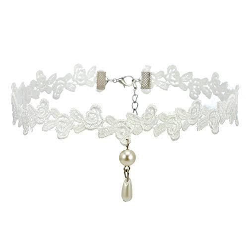Weiß Choker Gotik Spitze Halskette Kette
