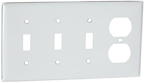 4-gang Wall Plate (Hubbell Wiring Systems SS38 302/304 Stainless Steel Combination Wall Plate, 4 Gang, 3 Toggle, 1 Duplex, 8-7/32 Width x 4-1/2 Height x 1/32 Thick by Hubbell Wiring Systems)