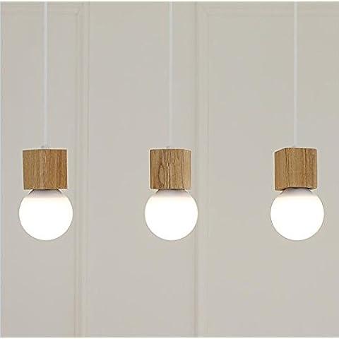 Il nord Europa legno massello soggiorno camera da letto lampadario cucina moderno bar ristorante library camera per bambini lampada da soffitto LED 3 disc Ciondolo lampada (con led bianco)