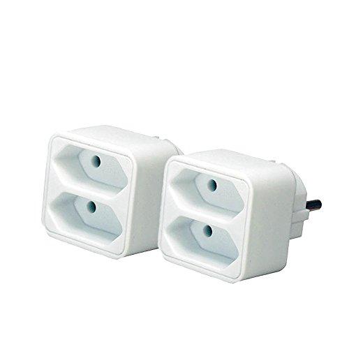 2er Sparpack Brennenstuhl Adapterstecker Euro 2-fach weiß, 1508030 (2 Stück, Weiß)