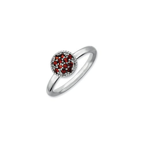 Black Bow Jewellery Company : Sterling Silver & Garnet Stackable 8mm Round Cluster Ring