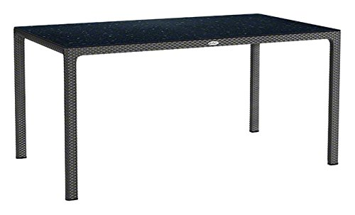 LECHUZA Esstisch mit HPL-Tischplatte (Gartenmöbel), Granit, 160 x 90 x 75 cm