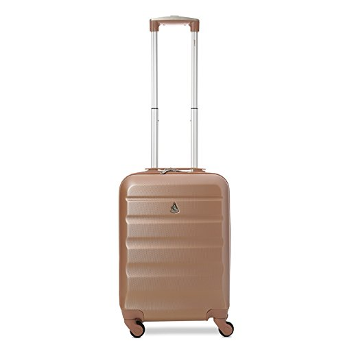 Aerolite Leichtgewicht ABS Hartschale 4 Rollen Handgepäck Trolley Koffer Bordgepäck Kabinentrolley Reisekoffer Gepäck, Genehmigt für Ryanair, easyjet und viele mehr 2 Teilig (Roségold) - 3