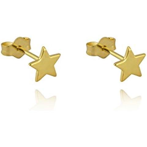 Piccoli orecchini a perno a forma di stella in argento Sterling 925Sterling/Studs/oro rosa/oro giallo