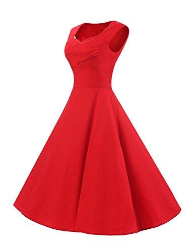 VKStar®Vintage 1950er Cap Sleeve Style Schwingen Audrey Hepburn Kleid Rockabilly Retro Stil Abendkleid Cocktailkleid Partykleid Rot