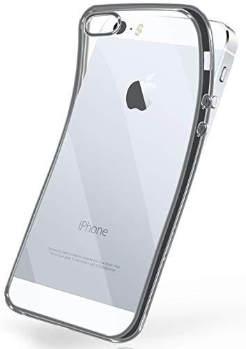 moex Apple iPhone 5S | Hülle Silikon Transparent Silber Chrom Back-Cover Silikonhülle Dünn Schutzhülle Handyhülle für iPhone 5/5S/SE Case Ultra-Slim Tasche TPU
