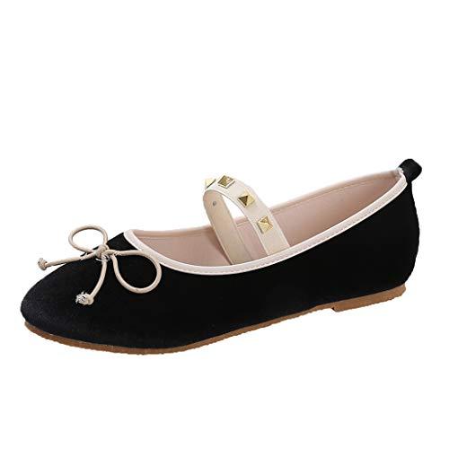r Sandalen Bohemian Flach Sandaletten Sommer Strand Schuhe,Flache Bequeme Ballerinas der neuen Frauen Beleg auf Pumpen-Ballett-Bogen-Gummiband-Schuhen ()