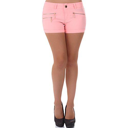 malucas Damen Jeans Kurze Hose Hotpants Shorts Bermuda Capri Hüfthose Slim Stretch Panty, Größe:40, Farbe:Rosa (Kurz Rosa Panty)