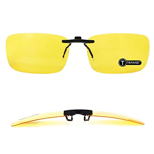 TERAISE polarisierte Nachtsicht-Klipp auf Sonnenbrille für Verordnung/Myopie-Brillen, die Sicherheit Fahren