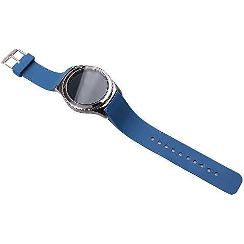 Generic Silicone Watch Banda para Samsung Gear S2 classic R732 ( Sin Incluir Watch ) con la Herramienta de la Barra de Resorte y 2 Prendedores, Correa de Reloj Banda de la Muñeca Watch Band para Samsung Gear S2 classic R732 - Azul