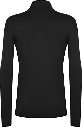 WearAll - Haut à manches longues à col roulé - Hauts - Femmes - Grandes tailles 44 à 54 Noir