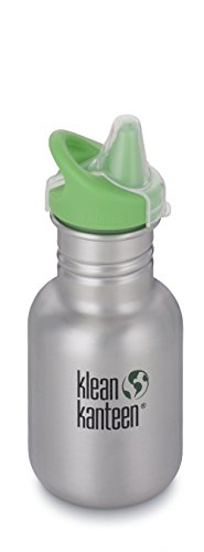 Klean Kanteen Edelstahl Kinderflasche mit Sippy Cap 355 ml, Brushed Stainless, 8020002