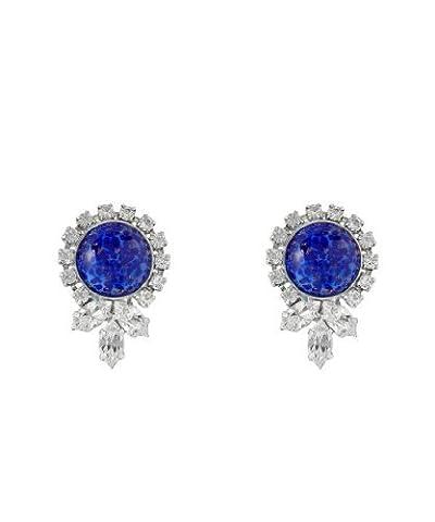 Swarovski Crystal Sapphire-Style Drop Stud Earrings / Circle Sapphire-Style Stud Earrings in Silver Finish
