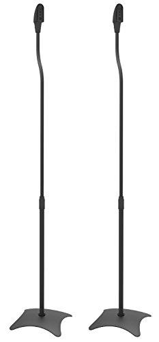 RICOO Lautsprecherständer BH-08 Lautsprecher Boxen Halterung Boden Stativ Höhenverstellbar Kabelkanal Lautsprecherhalter / Metall Schwarz (Subwoofer Wireless Sound-bars,)