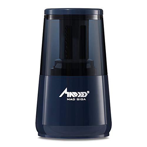 MAD GIGA Elektrischer Anspitzer, Automatischer Bleistiftanspitzer Auto-Stopp für 6-8 mm Stifte betriebt von USB- und 4 AA Batterien (Blau)