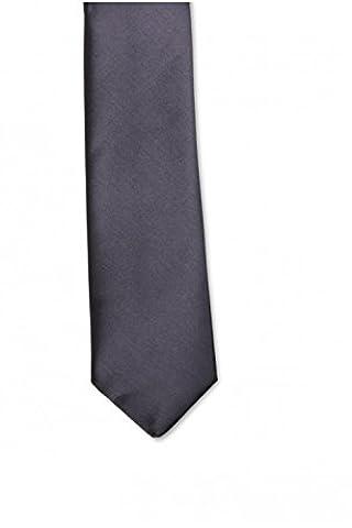 Cravate slim Homme grise anthracite aspect soyeux - Gris Anthracite - Unique