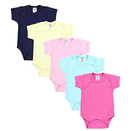 TupTam Mädchen Baby Body Kurzarm in Unifarben - 5er Pack, Farbe: Farbenmix 1, Größe: 98