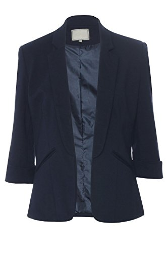 Be Jealous Womens Ladies 3//4 Turn Up Sleeve Open Front Collar Casual Coat Blazer Jacket
