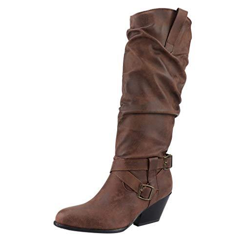 Dorical Damen Übergroße Stiefelette Frauen Stiefel,Boot High Heels Stiefeletten Damenstiefelette Casual Boots Schnalle Trichterabsatz 5 cm Gr 35-43(Braun,36 EU) -