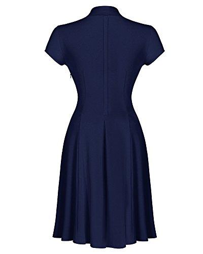 Femmes Robe de Soirée Bal Courte Rétro Vintage Année 50 Avec Manches Courtes Bleu Marine