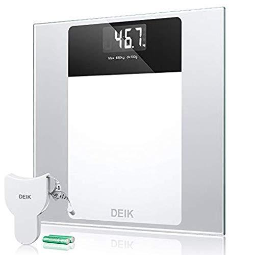 Deik Bilancia Pesapersone Digitale alta Stabilità Piattaforma Vetro Temperato con LCD Schermo Retroilluminato,Tecnologia Step-on, includere metro a nastro e batteria AAA, 5kg-180kg
