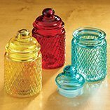 Kole OB651 Colored Glass Canisters with Lattice Texture, Regular