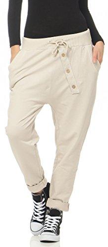 malito Damen Jogginghose mit Knopfleiste | Sporthose in Unifarben | Baggy zum Tanzen | Sweatpants – Trainingshose 3302 (beige)