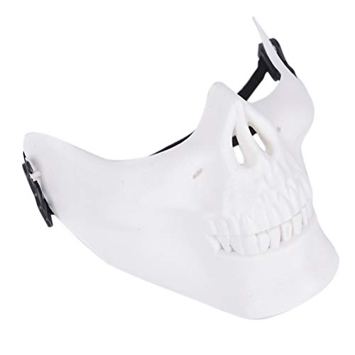 Wahl Spieler Kostüm - CHENLIGHT Halbmaske, Totenkopf, Harte Schutzausrüstung für Airsoft Paintball Jagd CS Wargame Maskerade Kostüm Party Halloween weiß
