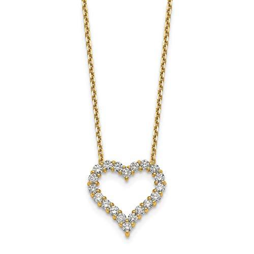 Lex & Lu 14K Gelb Gold Herz Anhänger w/Kette Halskette lal2576