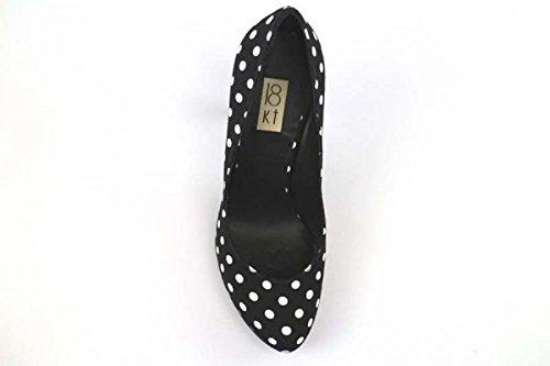 18 KT Escarpins Femme Noir / blanc / Rouge blanc Textile Noir