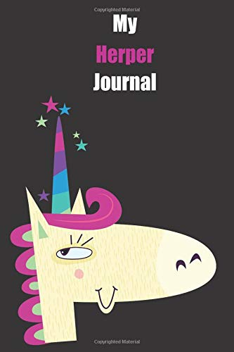 My Herper Journal: With A Cute Unicorn, Blank Lined Notebook Journal Gift Idea With Black Background Cover