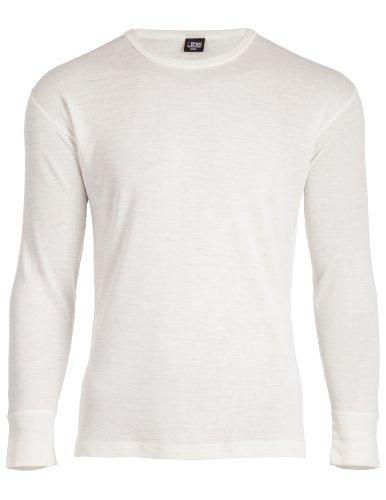 JBS - Maglietta della salute da uomo, a maniche lunghe, scollo rotondo, motivo 993, in lana Bianco - bianco