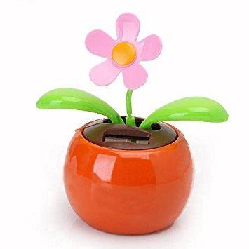 TOOGOO(R) Schlagklappe solarbetriebene Blume Blumentopf Swing Dancing Zeugneuheit Startseite Ornament - Orange