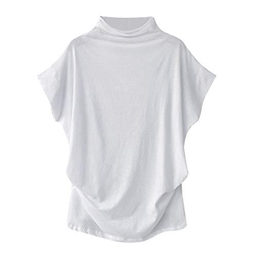 LOPILY Sommer Bluse Shirt Frauen Einfarbig Casual Rüschen Elegant Schmetterlingshülse Bluse T-Shirt Solide Baumwolle Lässige Rollkragen Kurzarmshirts Shirts Bluse Tops(X1-Weiß,5XL)