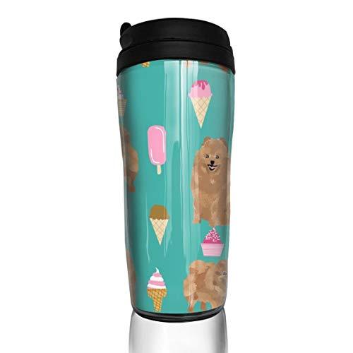 20354 Kaffeebecher Pomeranian Dog, niedliches Design, Pom Hund, Eis, Sommer, 340 ml, auslaufsicher, Klappdeckel, Wasserflasche, umweltfreundliches Material ABS