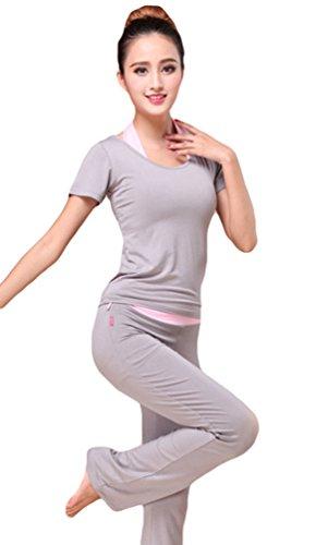 Sentao Donna Danza Abbigliamento sportivo Yoga Suit Maglietta Fitness Pantaloni Yoga Allenamento (3 pezzi) Grigio # 1