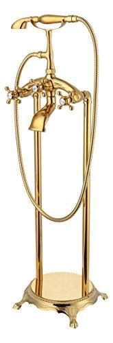 Standarmatur freistehend Wannenarmatur Armatur Wasserhahn mit Handbrause (Gold)