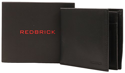 Alpha-Organizer Redbrick Men's, colore: Nero con logo a portafoglio in