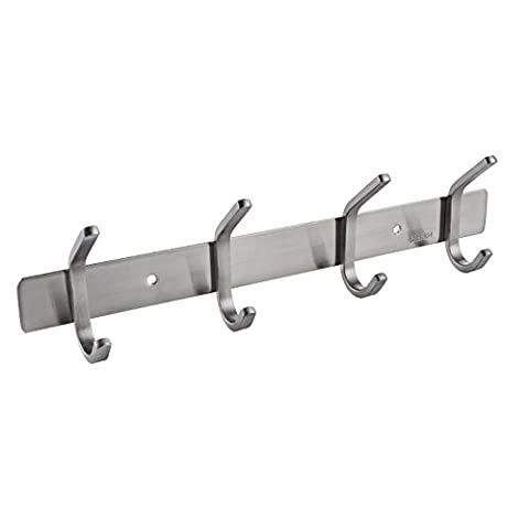 KES SUS 304 Stainless Steel Towel/Coat Hook Rack Rail Shelf with 4 Hooks Robe Hanger Bathroom Storage Organizer Wall Mount, Brushed Finish, AH203H4-2