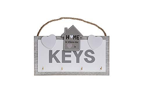 Alice's Collection - Porte-clés Mural en Bois avec Crochets - Décoration Moderne de la Maison - Rangement de clés - Rangement de clés pour Cuisine, Salon, Bureau - Dimensions : 20 x 18 x 2 cm